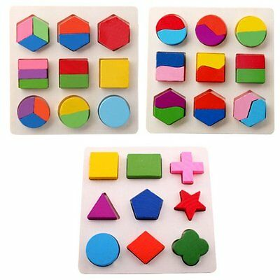 Baby Kids Wooden Geometry Early Educational Montessori Toy Stacking Block Puzzle