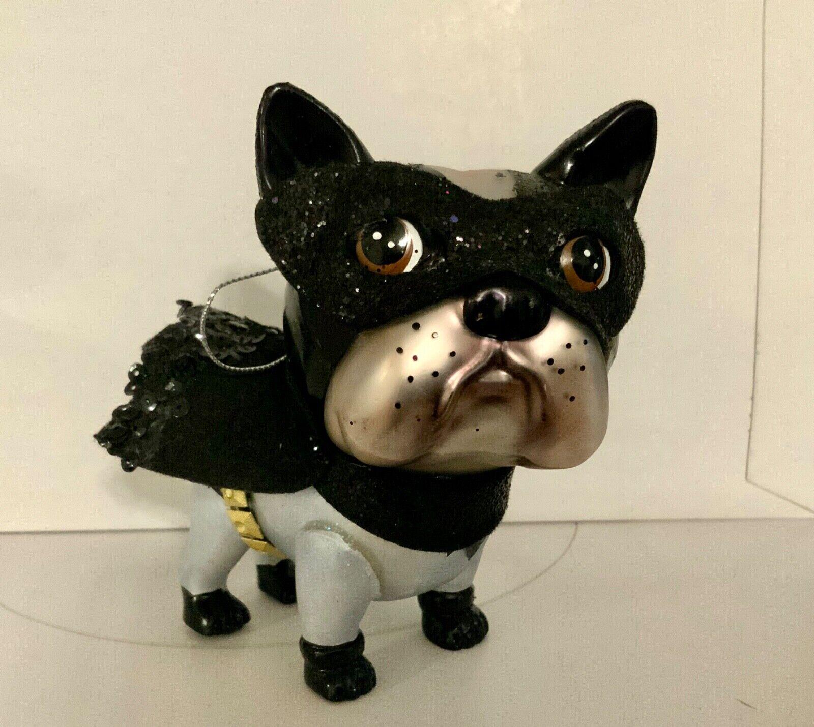 "Sleepy Black and White French Bulldog Figurine 7.5/"" Long Resin Dog Statue New!"