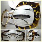 CLASSIC VINTAGE RETRO Style Clear Lens EYE GLASSES Tortoise & Gold Fashion Frame