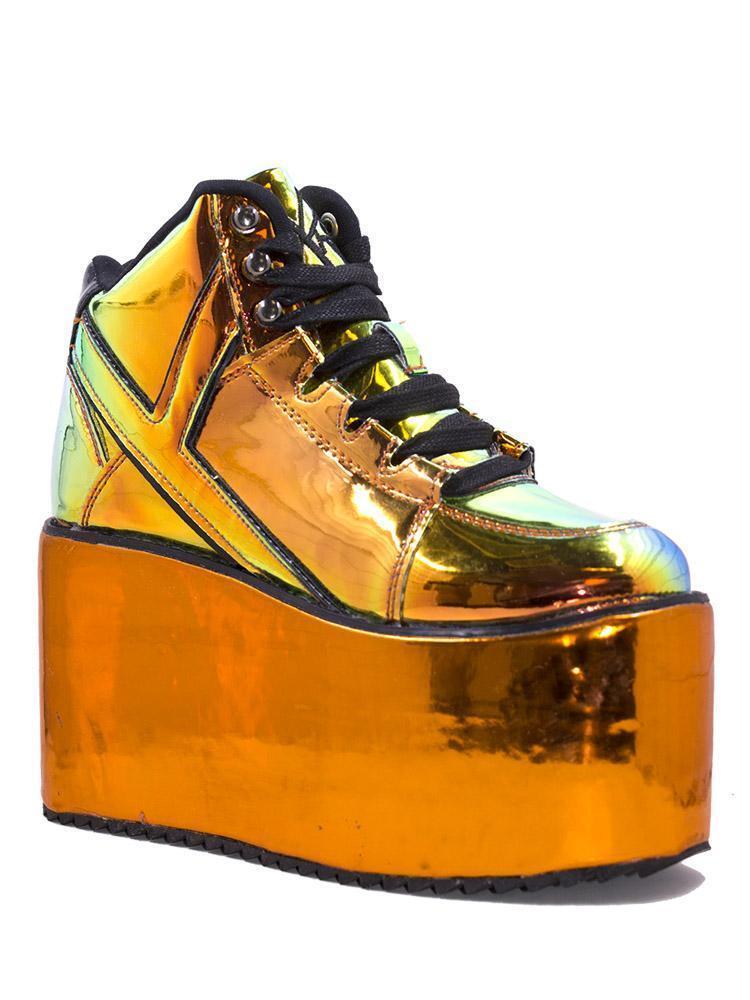 YRU Qozmo orange Atlantis Holographic Cybergoth Platform shoes Sneakers Hi Top