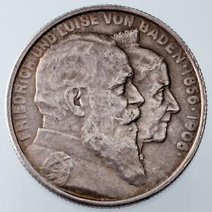 1906 German States Baden 2 Mark Golden Wedding Anniversary KM # 276 BU Condition