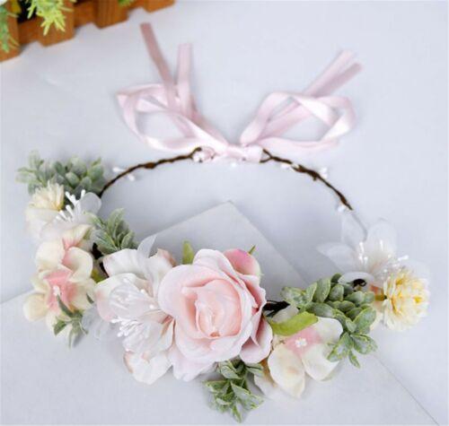 Women Pink flower Leaf Tiara Fairy wedding Party Hair Headband Crown Garland