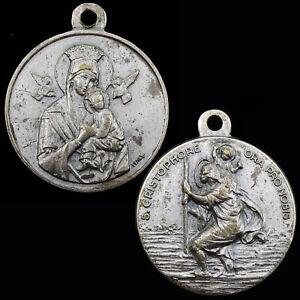 Saint-Cristophore-Vintage-Medal-St-Christopher-Christophe-Lady-of-Perpetual-Help