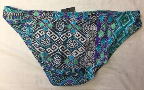 NWT Mossimo Purple//Green Multi Geometric Bikini Hipster Swim Bottom XL