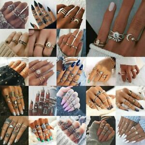 12Pcs-Set-Boho-Arrow-Moon-Flower-Midi-Finger-Knuckle-Rings-Silver-Gold-Retro