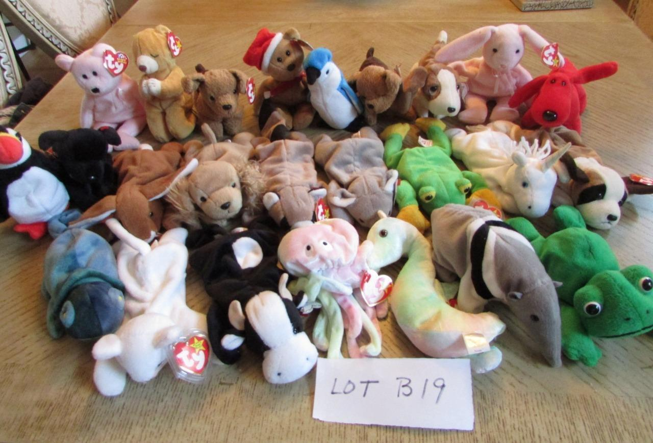 LOT OF 25  HARD TO FIND TY TY TY BEANIE BABIES  - EXC - LOT B19 f00d7e
