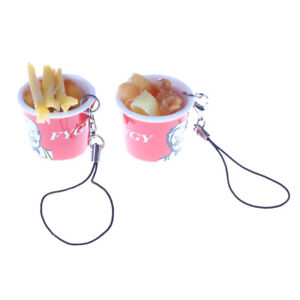 Dollhouse-Mini-food-french-fries-corn-bread-fritters-whole-barrel-Keychain-H