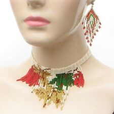 GREEN RED GOLDEN CREAM NATIVE AMERICAN STYLE NECKLACE EARRINGS SET
