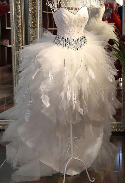 FEATHERS SHORT FRONT LONG BACK Bride Wedding Dress Diamonds Gown ALL SIZES!  NWT