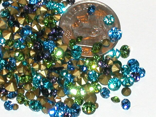 50pc Mixed sizes colors Crystals for bottle foiled 2mm-4mm Aqua green blue