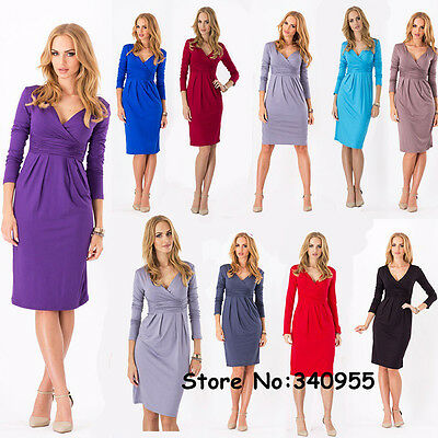 Women's OL Sexy V-Neck Stretchy Maternity Tunic Dress Long Sleeve Basic Dress