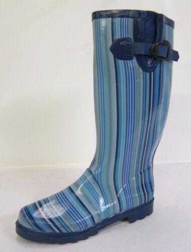Ladies Multi Blue Stripped Rubber Wellington Boots- * SALE X1111