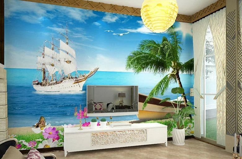 3D Two Sailingboat  Wallpaper Decal Decor Home Kids Nursery Mural  Home