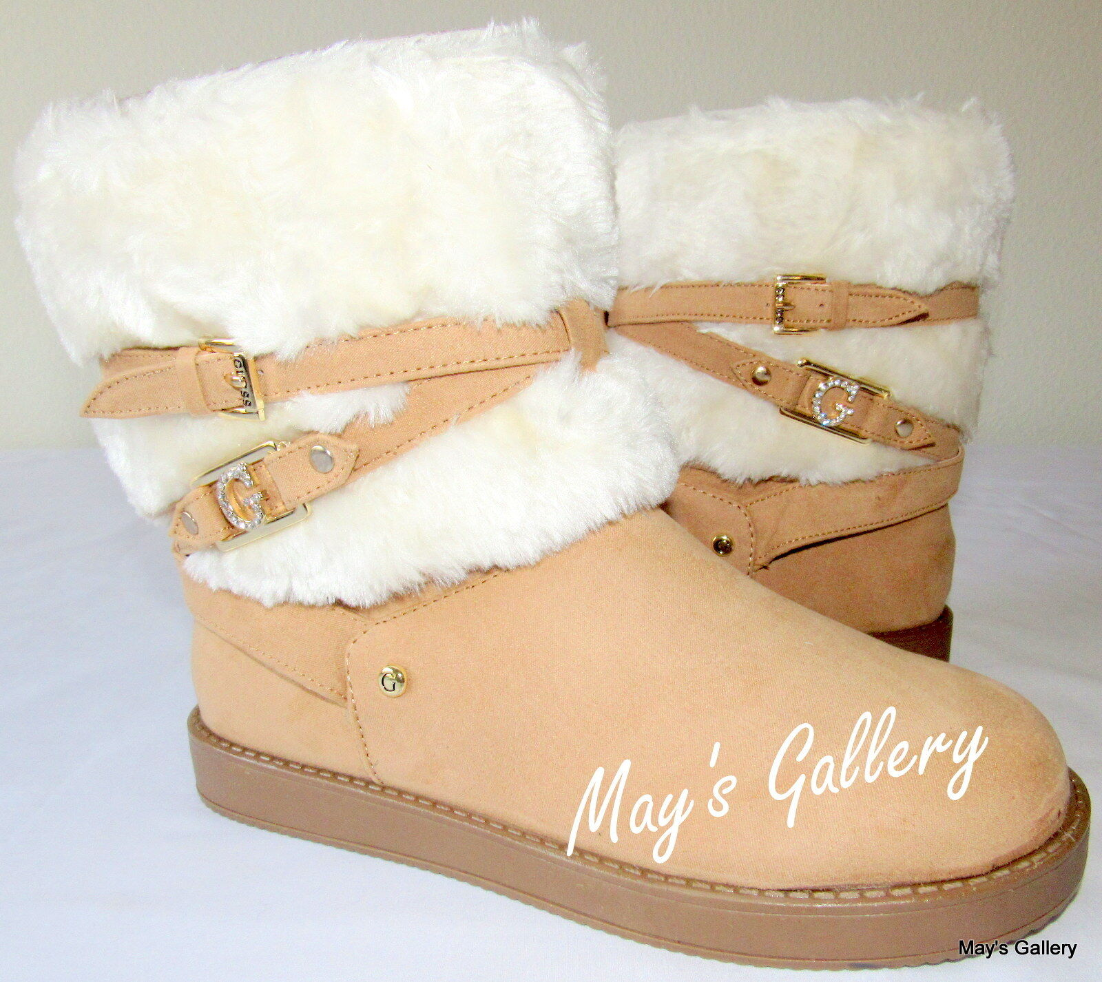 GUESS High Top  Faux Fur  shoes shoes Booties Boot  Boots  Faux Suede Ankle Sz 8
