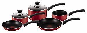 NEW-Red-Tefal-Bistro-5-Piece-Cookware-Saucepan-Sets-Non-Stick-Pots-and-Pans-Set