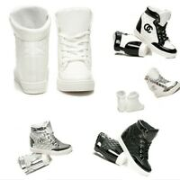 WOMENS LADIES SHOES WEDGES PLATFORM BOOTS SNEAKERS TRAINERS LACE UP WHITE BLACK