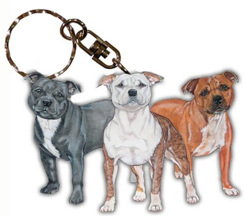 Staffordshire Bull Terrier Wooden Keychain