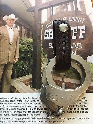 Vintage Tex Shoemaker Basketweave Leather Police Duty Handcuff Strap Holder Cuff