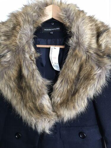 collo 10 pelliccia navy in blu lana BNWT Nuovo Cappotto di con Taglia Magazzino misto qRwgZE