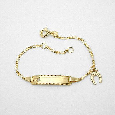 Kinder Zirkonia Stern Armband Echt Silber 925 mit Name Datum Gravur 14-16 cm
