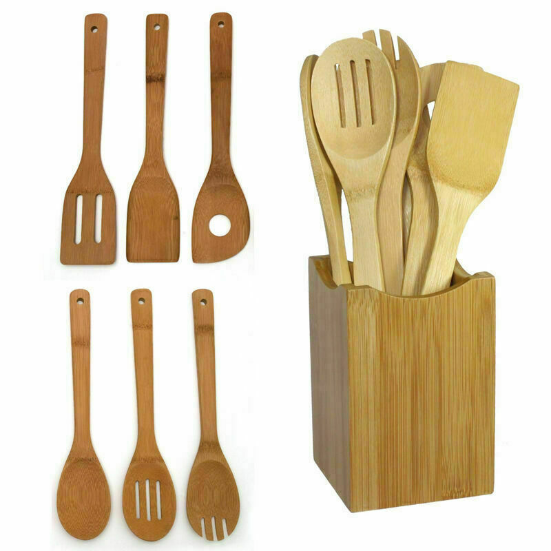 4 Pc Cooking Tools Set Solid Wood Spoons Kitchen Utensils Cook Chef Spatula Tool