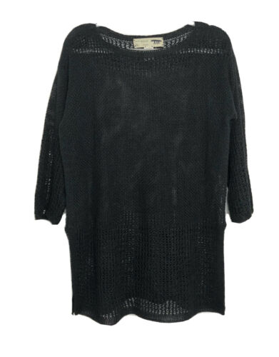 Inis Meain Irish Black Open Knit 100% Linen Tunic