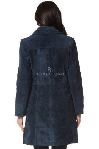 Slim Manteau 3457 long bleu classique daim cuir doux marine véritable confortable en en et Fit gqr6w7g