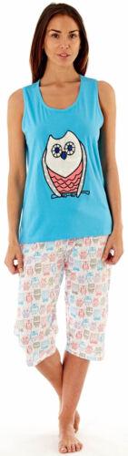 Ladies Jersey Pyjamas Vest T-Shirt Shorts Cuffed Pants Summer TieWaist Blue Pink