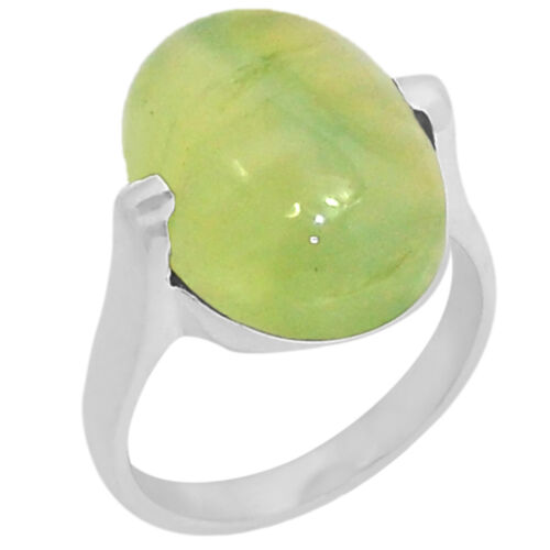 12.8cts Prehnite 925 Sterling Silver Ring Jewelry s.7 R5192PNT-7