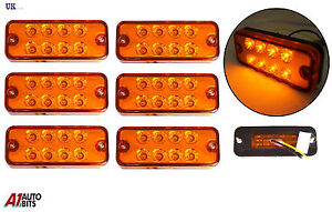6-pieces-24V-8-LED-marquage-lateral-orange-ambre-FEUX-pour-Camion-FIAT-DUCATO