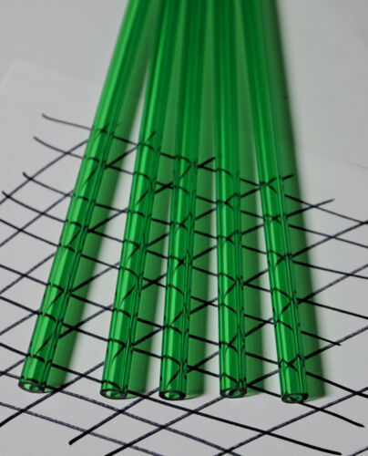 """2 PIECES CLEAR GREEN ACRYLIC PLEXIGLASS LUCITE TUBES 1//2"""" OD 1//4/"""" ID x 36"""" LONG"""