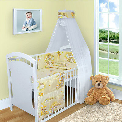 BABY BEDDING SET 3 6 9 11 PCS 120x60 CANOPY DUVET PILLOW COVER BUMPER STRAIGHT