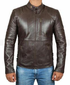 Men's Dark Brown Zipper Classic Leather Biker Jacket MZ45