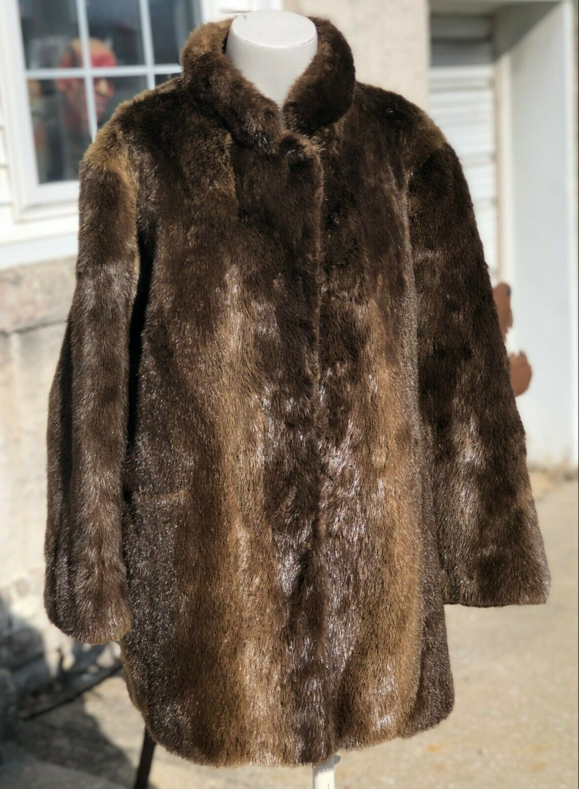 Vintage Authentic Worlds Finest Arctic Beaver Fur Ladies Knee Coat Size L READ
