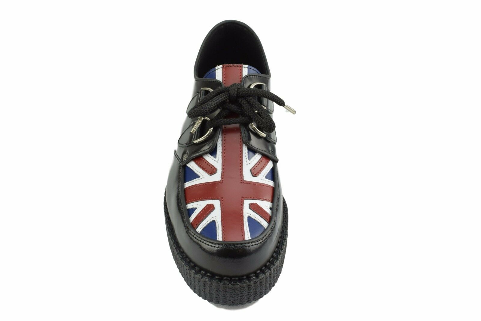 Steel Ground Schuhes schwarz Leder Union Jack Flag Creepers Low Sole D Ring