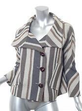 DEREK LAM Womens Beige+Navy Striped Cropped Oversized Swing Jacket Coat 8
