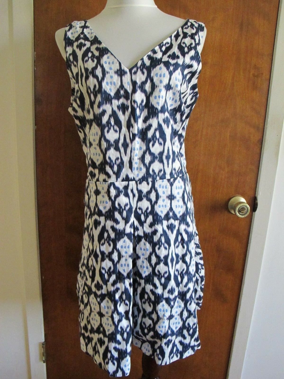 Gap Women's Navy white Linen Lined Dress Size 18 NWT runs small