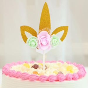 Cute Flower Unicorn Cake Toppers for Baby Shower Birthday Wedding