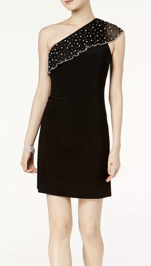 Women's Formal Dress Size XL Black Short Cocktail Pearl Gown MSK Cold Shoulder