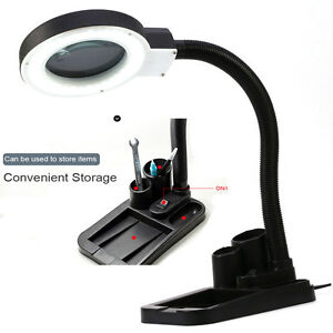 Led magnifying light tabletop gooseneck lamp magnifier 5x 10x desk - 5x 10x Desktop Gooseneck Magnifying 40 Led Lamp Magnifier