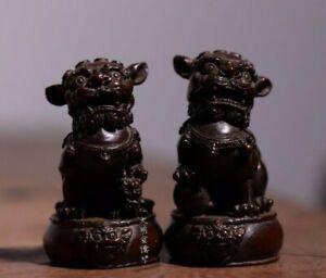 Old Antique Tea Pet Pure Solid Copper Pair Foo Guardian Lion handwork Statue