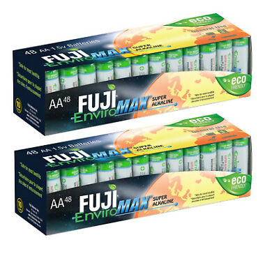 96-Pack Fuji EnviroMAX Super Alkaline AA Eco Friendly Batteries