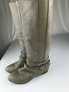 Olsenboye-Tall-Riding-Boots-Gray-Tan-Brown-Elastic-Stretchy-Side-Panels-US-7-5