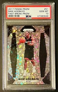 2017 Panini Prizm Fast Break Prizm Bam Adebayo Rookie RC #51 PSA 10 GEM MINT