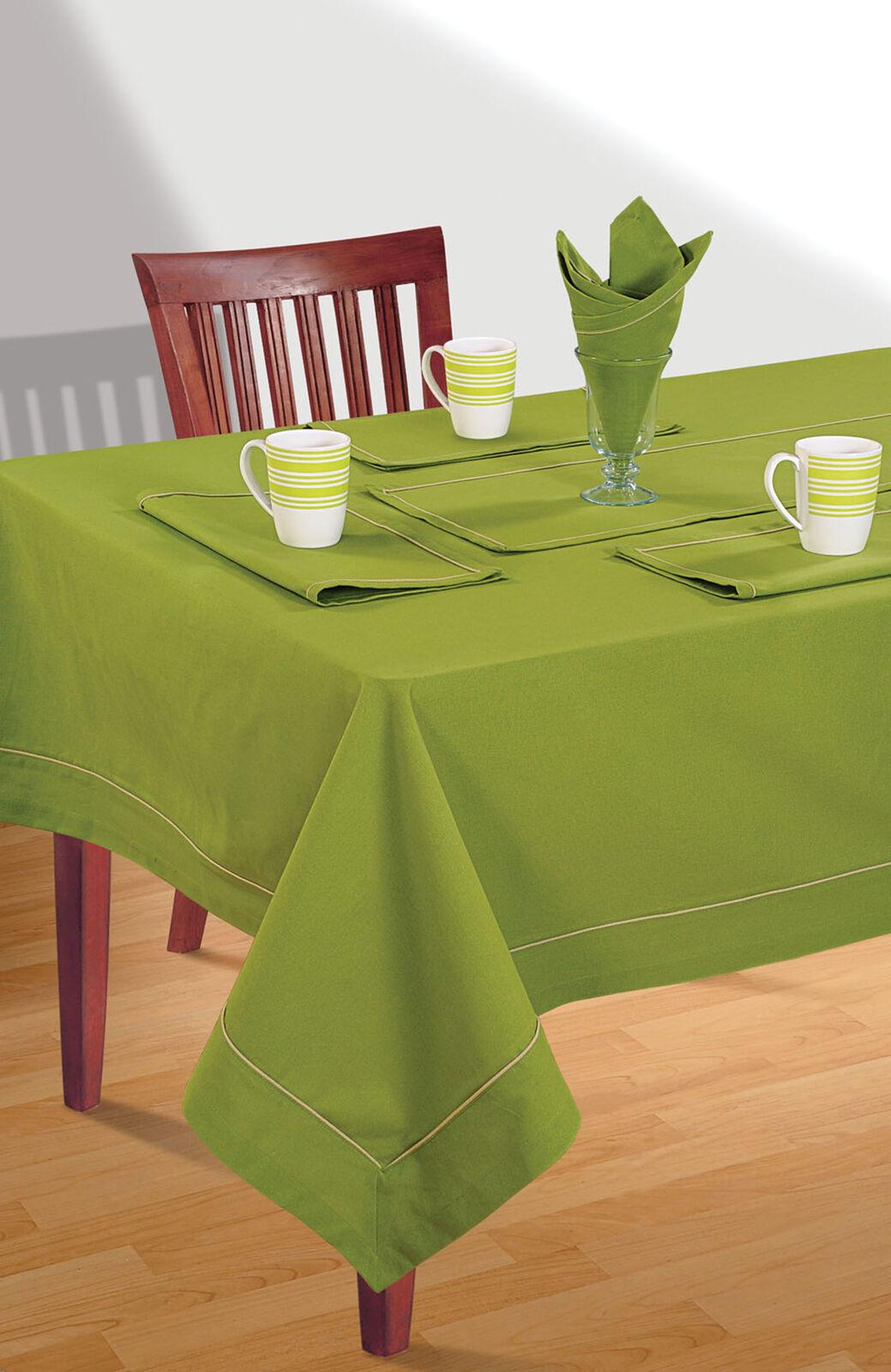 220 GSM, 100% Cotton Table Cover Grün Plain Table Cloth Lines- Größe Available
