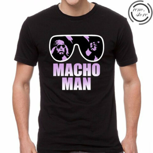 Macho Man Logo Men/'s Black T-Shirt Size S M L XL 2XL 3XL