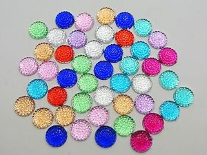 200-Mixed-Color-Flatback-Acrylic-Dotted-Round-Rhinestone-Cabochon-Dome-8mm