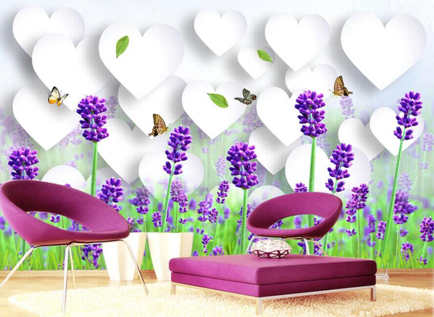3D Lavendel Schmetterling 7557 Tapete Wandgemälde Tapete Tapeten Bild Familie DE