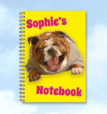 Personalised Printed Notebook Bulldog any Name and text
