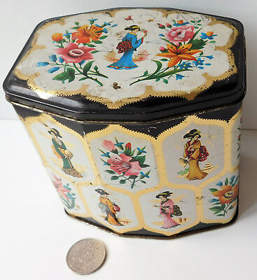 Vintage Gray Dunn biscuit tin Oriental style Japanese kimono costumes fans
